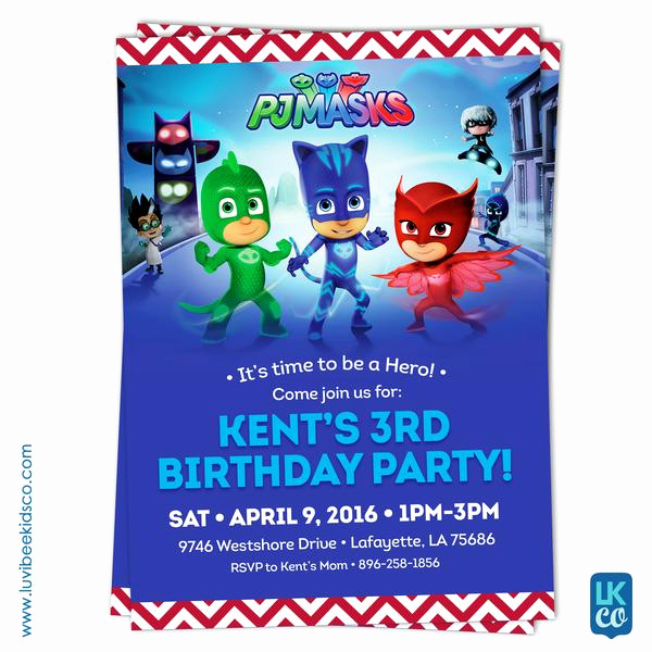 Pj Mask Invitation Free Unique Pj Masks Invitation Birthday Invitation for Boy or Girl