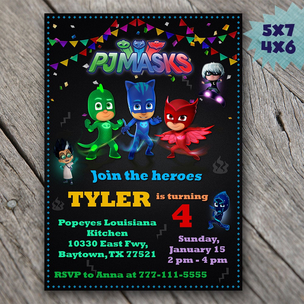 Pj Mask Invitation Template Awesome Pj Masks Invitation Pj Masks Birthday Invitation Pj Masks
