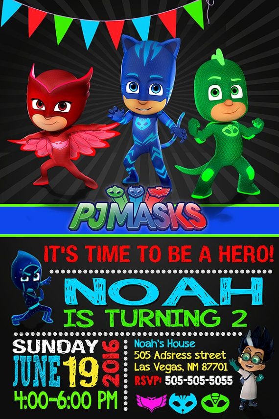 Pj Mask Invitation Template Beautiful Pj Masks Pj Masks Invitation Pj Masks by Oneheartinvites