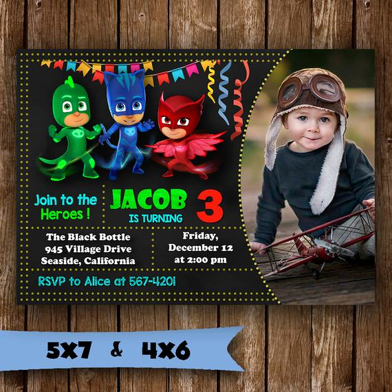 Pj Mask Invitation Template Best Of Pj Masks Invitation Pj Masks Birthday Invitation Pj Masks