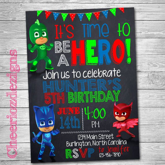 Pj Mask Invitation Template Elegant 89 Best Images About Pj Masks Party On Pinterest