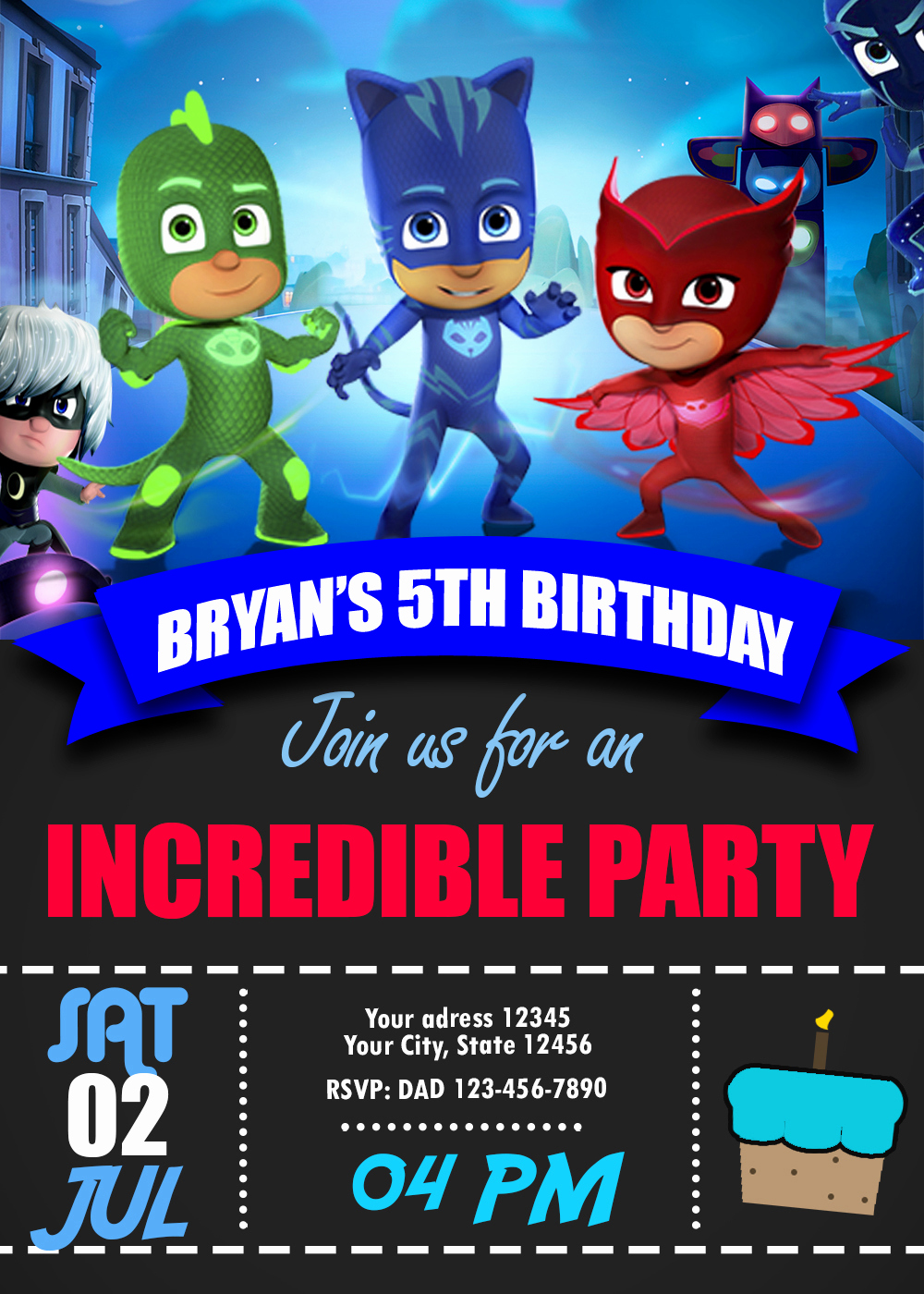 Pj Mask Invitation Template Elegant Blue Catboy Pj Masks Birthday Invitation Oscarsitosroom