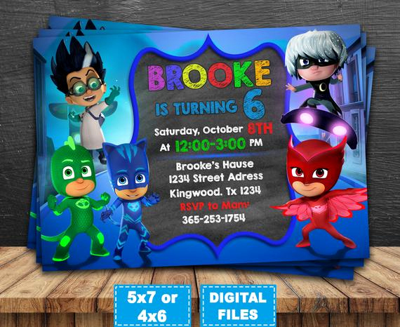 Pj Mask Invitation Template Elegant Pj Masks Invitation Pj Masks Birthday Invitation Pj Masks