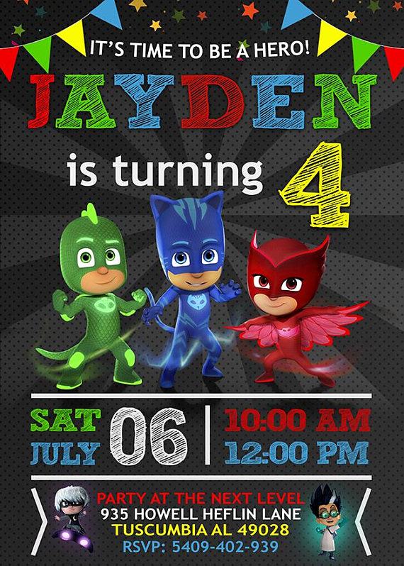 Pj Mask Invitation Template Fresh Pj Mask Birthday Invitation Invitations Pj Mask