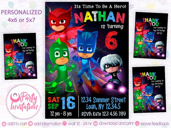 Pj Mask Invitation Template Fresh Pj Mask Invitation Free Thank You Tags Pj Mask
