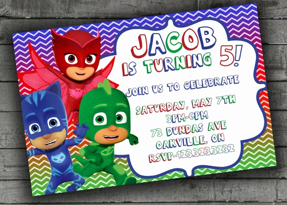 Pj Mask Invitation Template Inspirational Pj Masks Party Invitations Kids Birthday by
