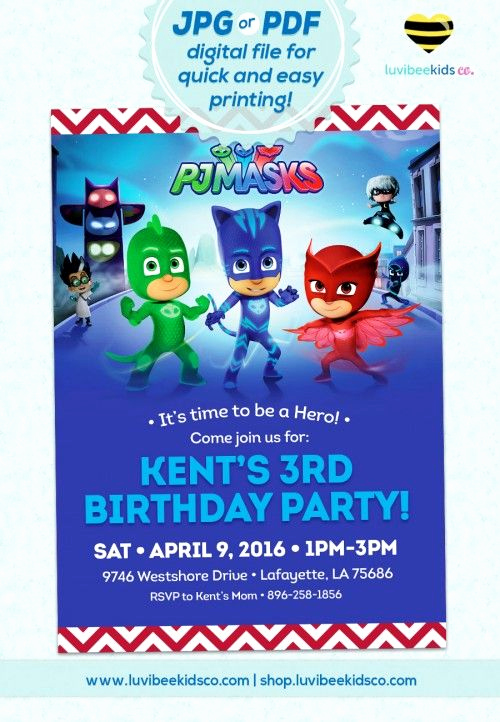 Pj Mask Invitation Template Inspirational Pjmasks Birthday Invitation Printable Invitation