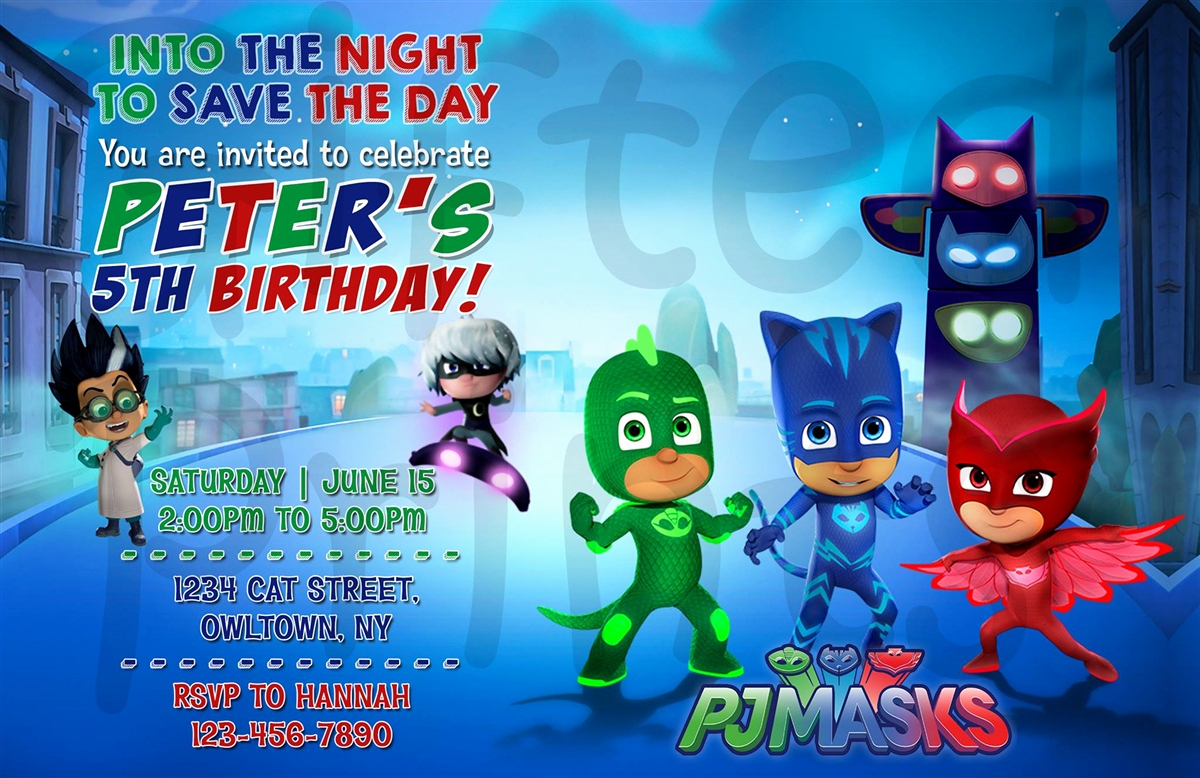 Pj Mask Invitation Template New Birthday Invitation Pj Masks theme