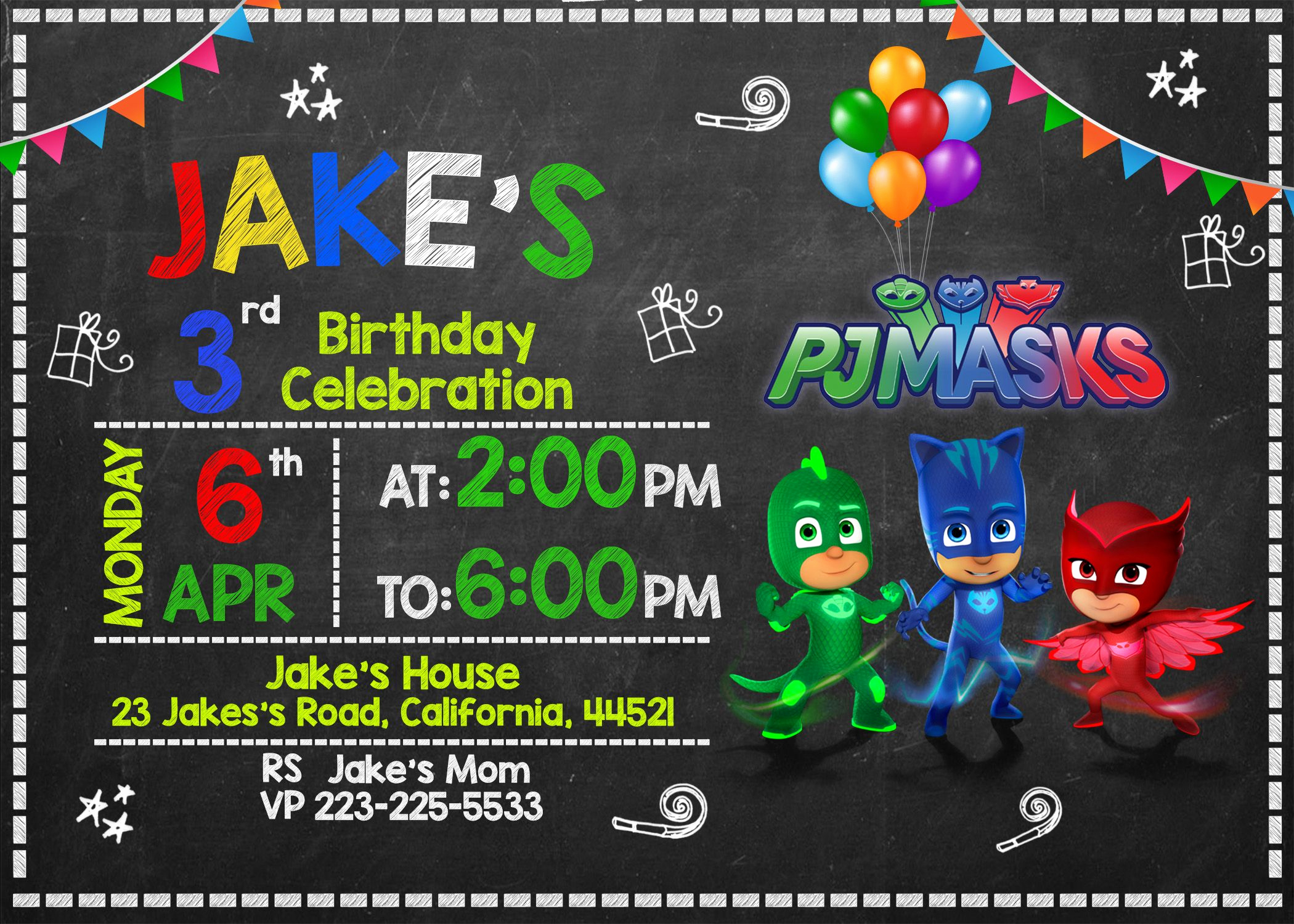 Pj Mask Invitation Template New Free Pj Masks Invitation Printable Templates Download