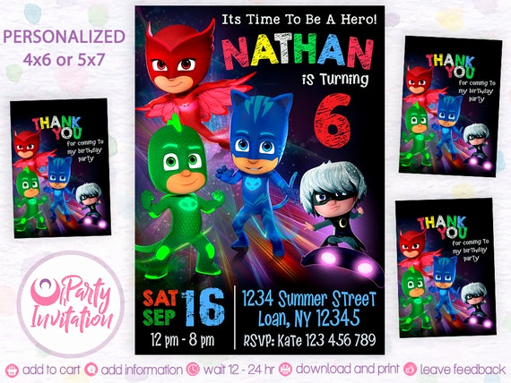 Pj Mask Invitation Template New Pj Mask Invitation Free Thank You Tags Pj Mask