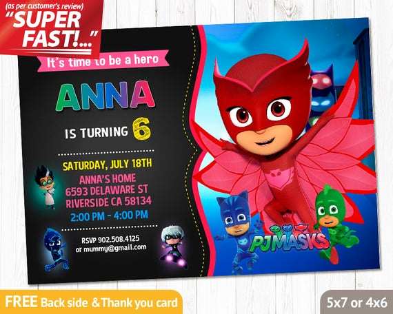 Pj Mask Invitation Template New Pj Masks Invitation Printable Pj Masks Birthday Invitation