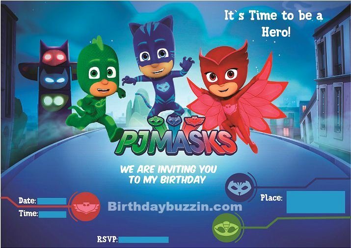 Pj Masks Birthday Invitation Template Awesome Free Printable Pj Masks Birthday Invitations