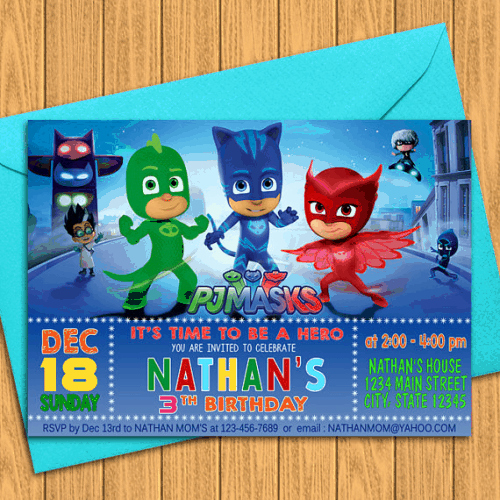 Pj Masks Birthday Invitation Template Elegant 13 Pj Masks Birthday Party Ideas that Will Make Your Party