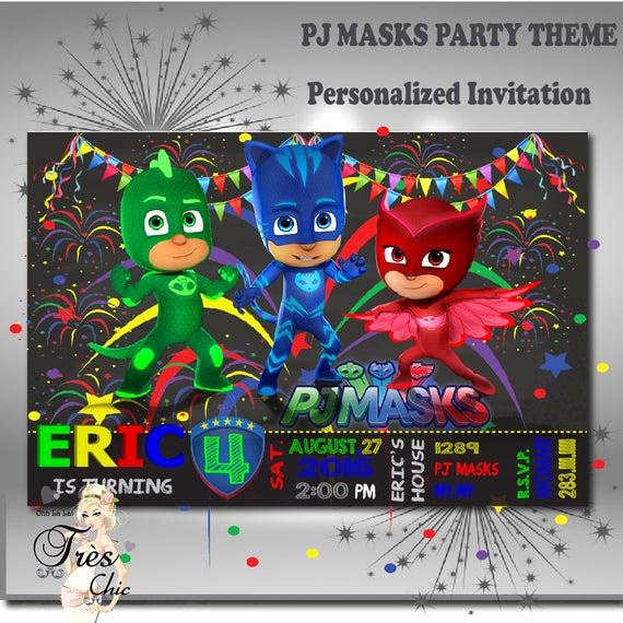Pj Masks Birthday Invitation Template Fresh Pj Masks Invitationspj Masks Party Invitations Pj Masks