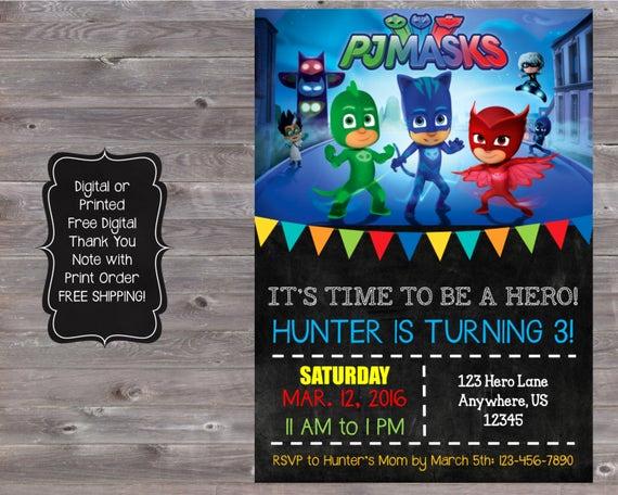 Pj Masks Birthday Invitation Template Fresh Unavailable Listing On Etsy