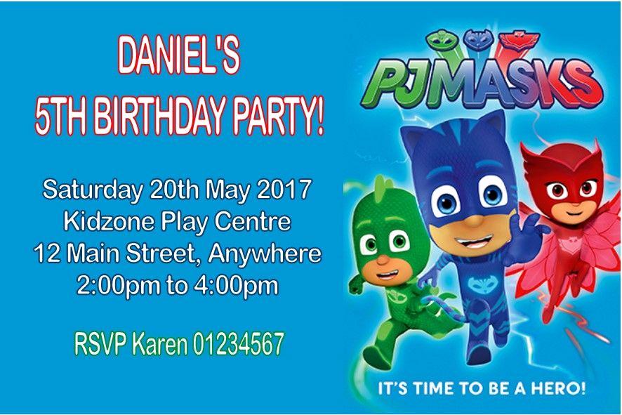 Pj Masks Birthday Invitation Template Inspirational Personalised Pj Masks Invitations