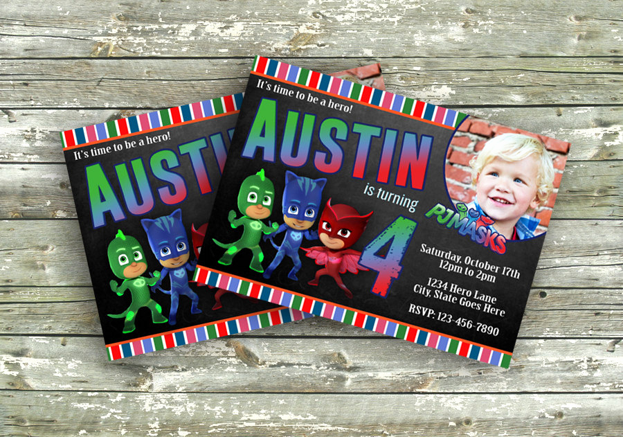 Pj Masks Birthday Invitation Template Luxury Pj Masks Birthday Invitation with Digital File by