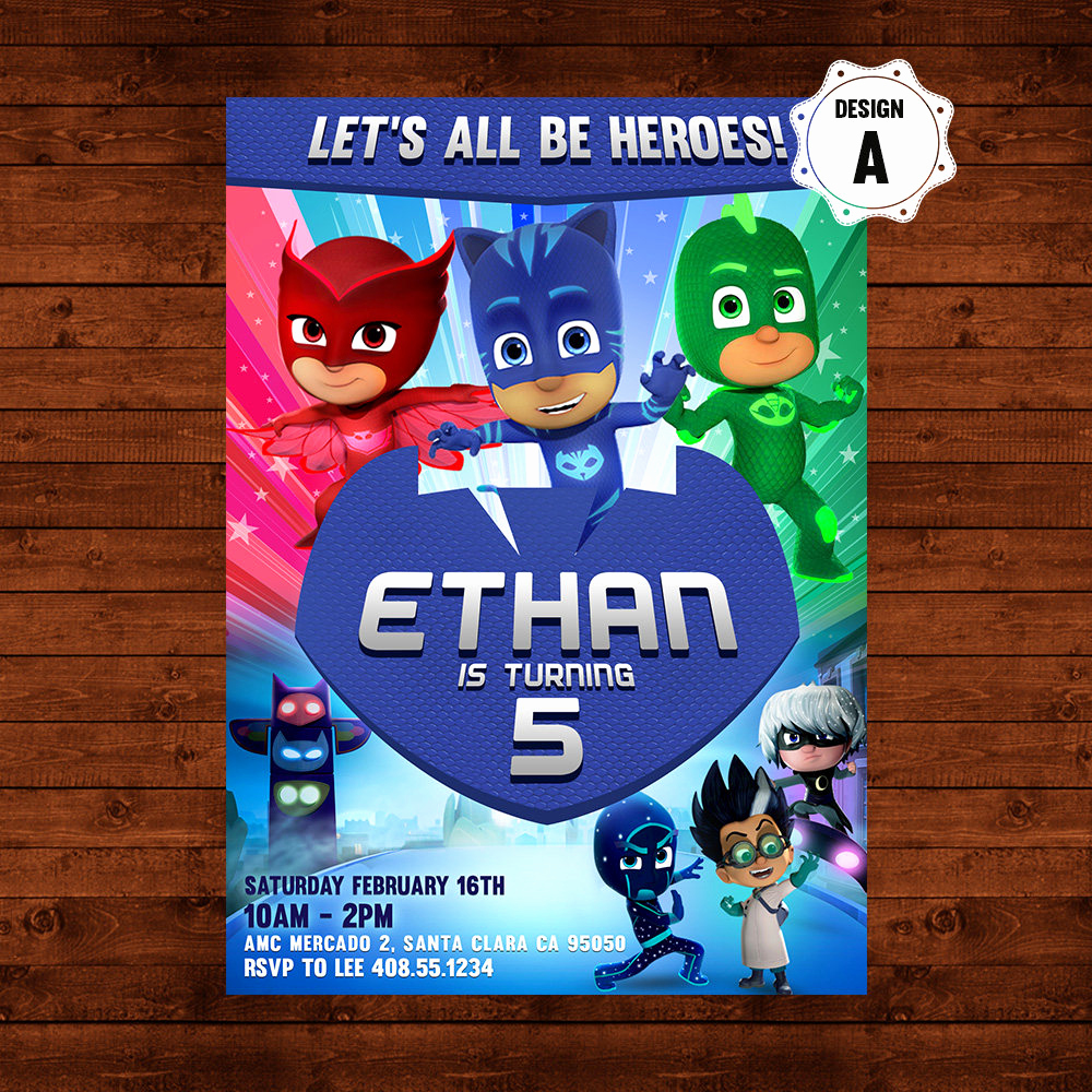 Pj Masks Invitation Template Awesome Pj Masks Birthday Invitation Pj Masks Invite Pj Masks