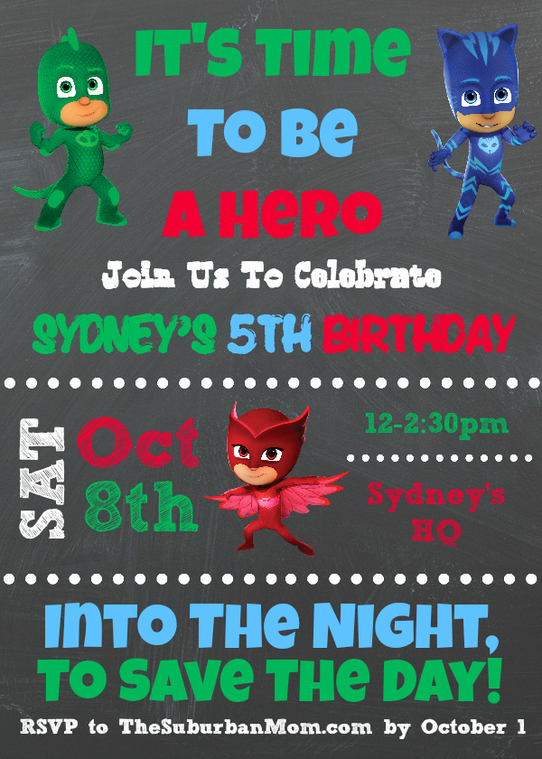 Pj Masks Invitation Template Beautiful Pj Masks Birthday Party Ideas and Free Printables the