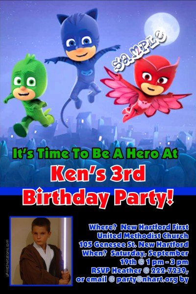 Pj Masks Invitation Template Elegant Pj Mask Birthday Invitations