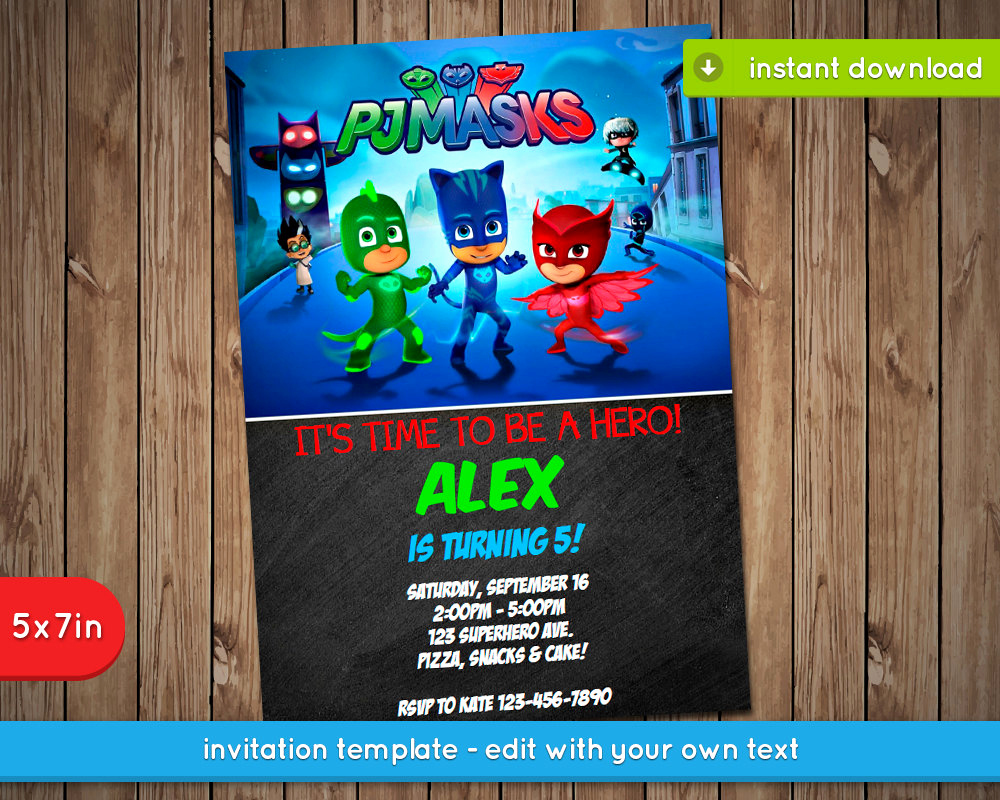Pj Masks Invitation Template Free Beautiful Pj Masks Invitation Printable Birthday Party Invite