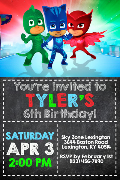 Pj Masks Invitation Template Free Fresh Pj Masks Invitations Catboy Owlette