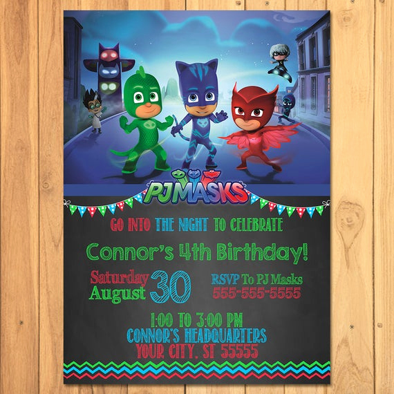 Pj Masks Invitation Template Free Lovely Pj Masks Invitation Chalkboard Pj Masks Birthday Pj Masks