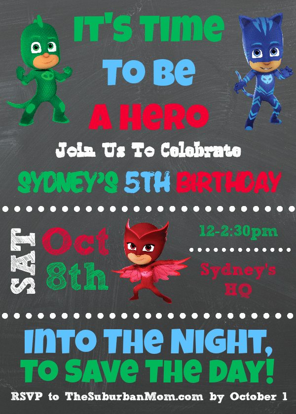 Pj Masks Invitation Template Free Luxury Pj Masks Birthday Party Ideas and Free Printables the