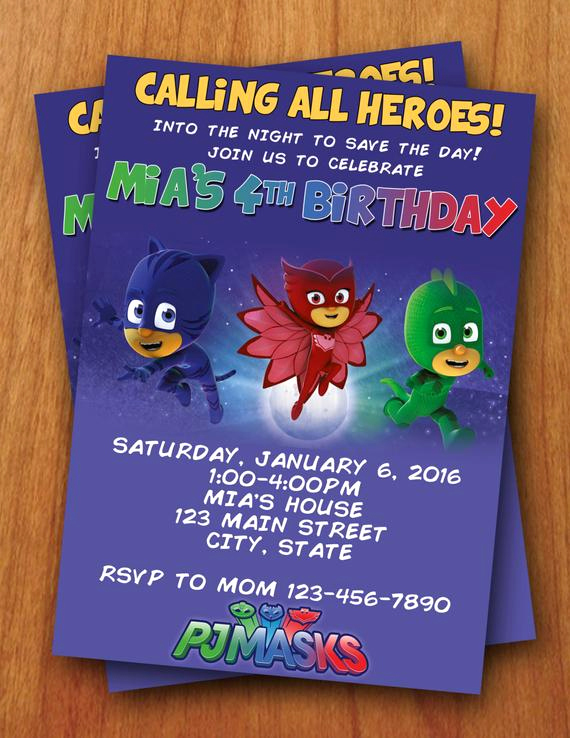 pj masks digital birthday invitation
