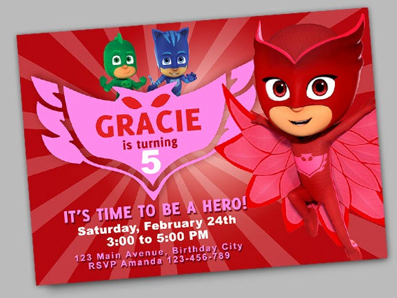Pj Masks Invitation Template New Owlette Birthday Invitation Pj Masks Birthday Invitation