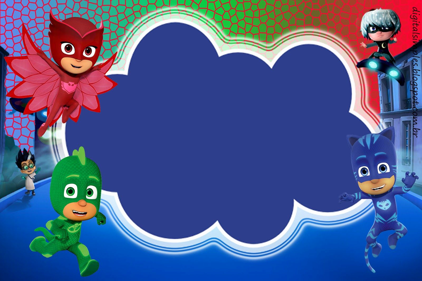 "Pj Masks Invitation Template Unique Kit Digital Free Aniversário ""pj Masks"" Convites"