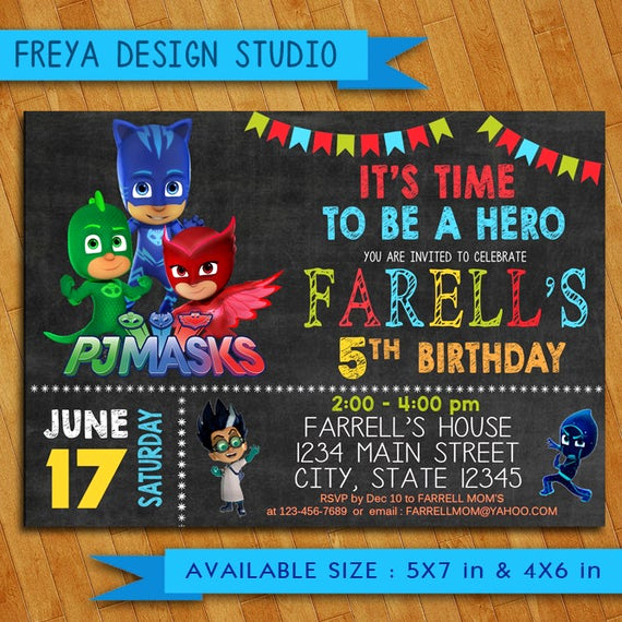 Pj Masks Invitation Template Unique Pj Masks Invitation Pj Masks Birthday Party Pj Masks Birthday