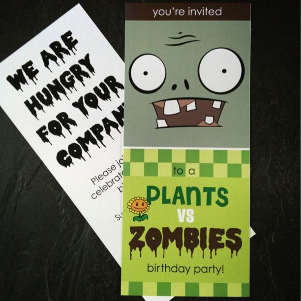 Plants Vs Zombies Invitation Template Awesome Plants Vs Zombies Party Invite