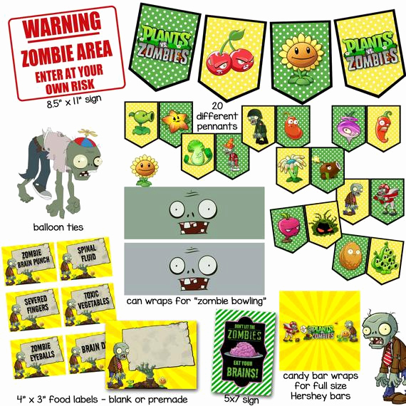 Plants Vs Zombies Invitation Template Awesome Plants Vs Zombies Printables for Birthday Party