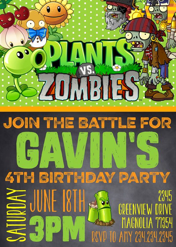 Plants Vs Zombies Invitation Template Beautiful 9 Best Plants Vs Zombies Images On Pinterest