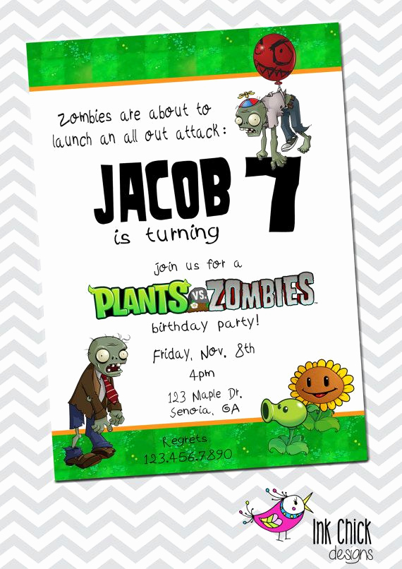 Plants Vs Zombies Invitation Template Best Of Plants Vs Zombies Birthday Invitation by Inkchickdesigns