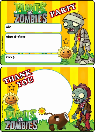 Plants Vs Zombies Invitation Template Best Of Plants Vs Zombies Free Printable Cards or Invitations