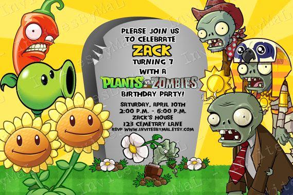 Plants Vs Zombies Invitation Template Elegant Invitación De Plants Vs Zombies Zombies En 2019