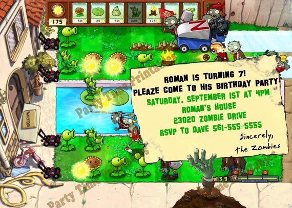 Plants Vs Zombies Invitation Template Fresh Plants Vs Zombies Party Invitation Personalized Party