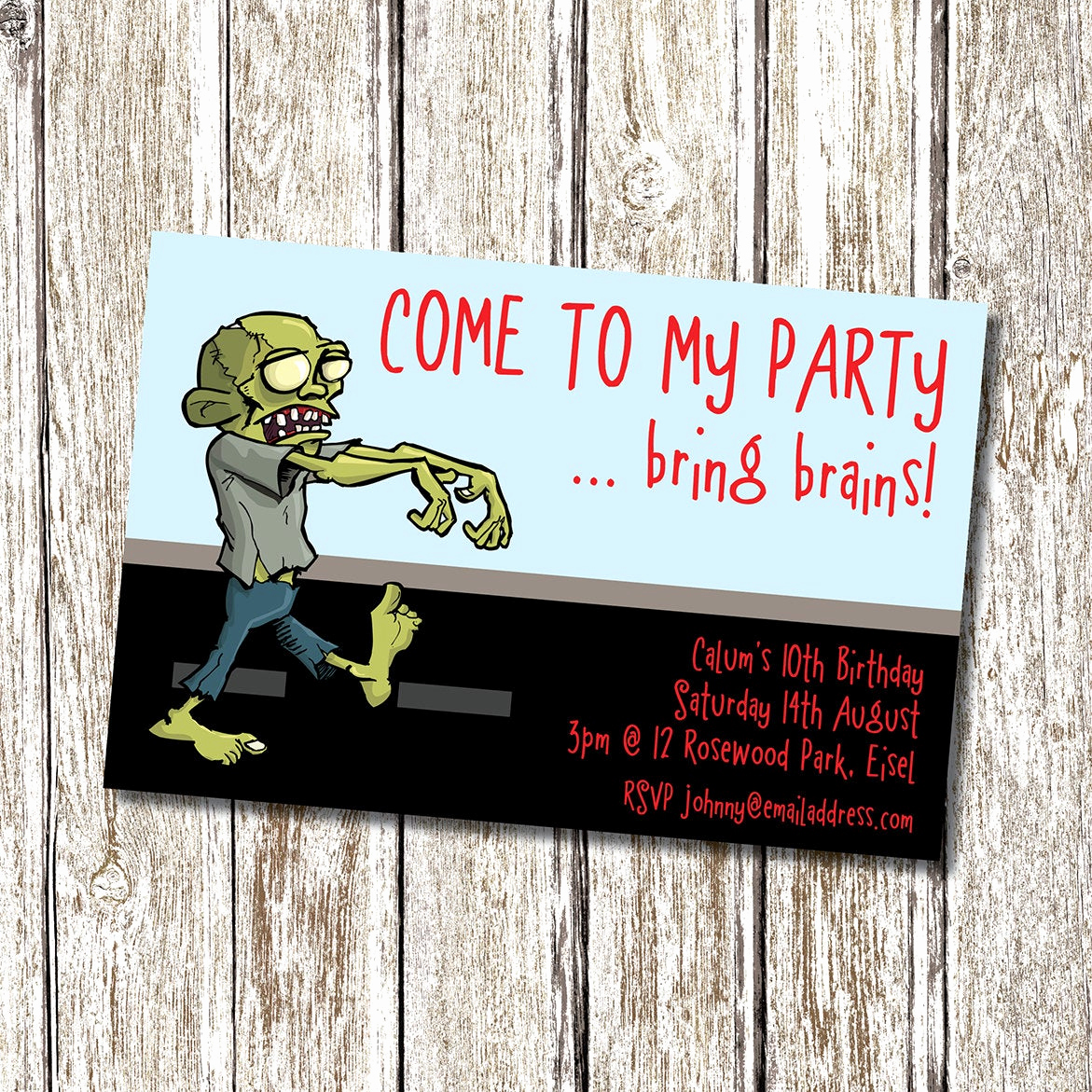 Plants Vs Zombies Invitation Template Inspirational Zombie Birthday Party Invitation Printable and by