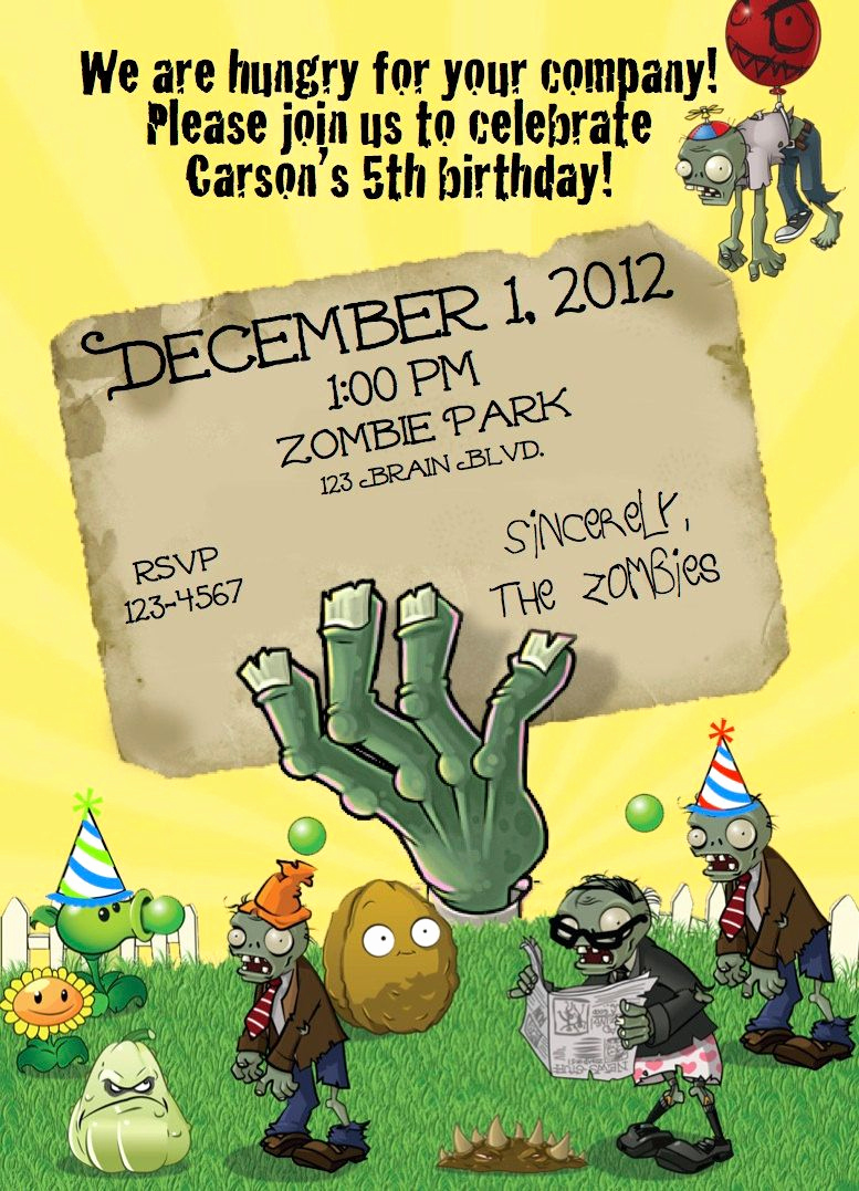 Plants Vs Zombies Invitation Template Inspirational Zombie Party Invitation Templates