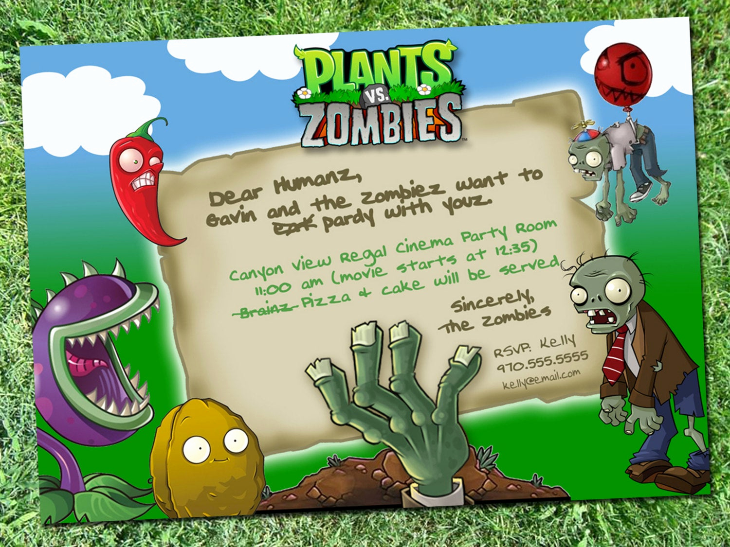 Plants Vs Zombies Invitation Template Lovely Plants Vs Zombies Party Invitation Digital Download