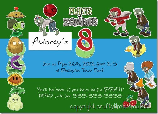 Plants Vs Zombies Invitation Template Luxury Craftylilmomma the Official Blog Plants Vs Zombies
