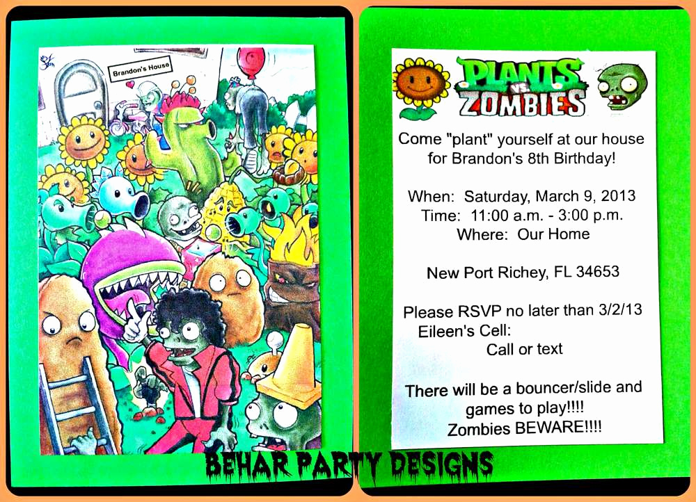 Plants Vs Zombies Invitation Template New Plants Vs Zombies Birthday Party Ideas