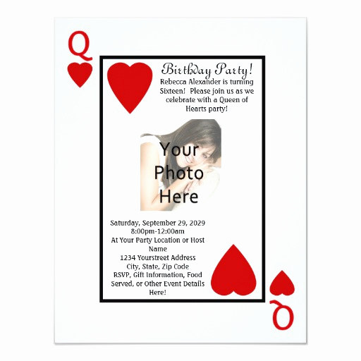 Playing Card Invitation Template Awesome Playing Card Queen Birthday Party Invitation