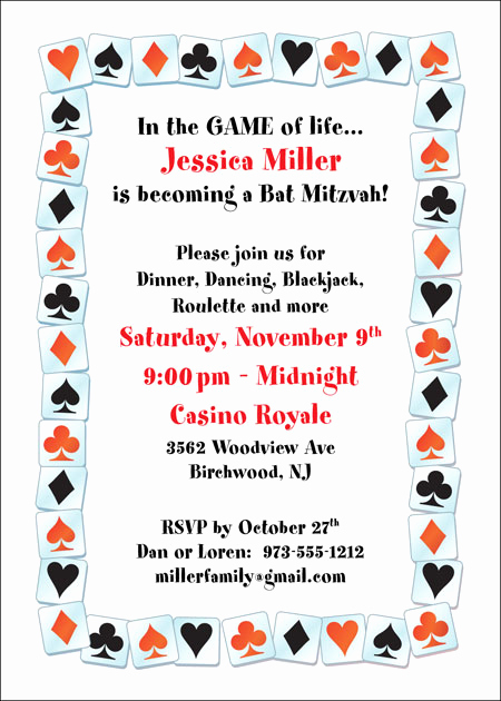 Playing Card Invitation Template Beautiful A Casino Party Invitation