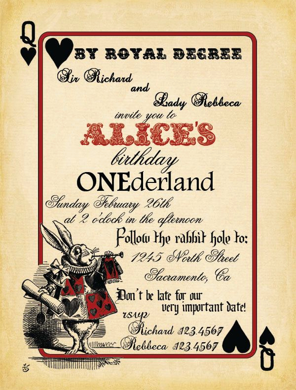 Playing Card Invitation Template Beautiful Playing Card Alice In Wonderland Invitation Bridal Shower