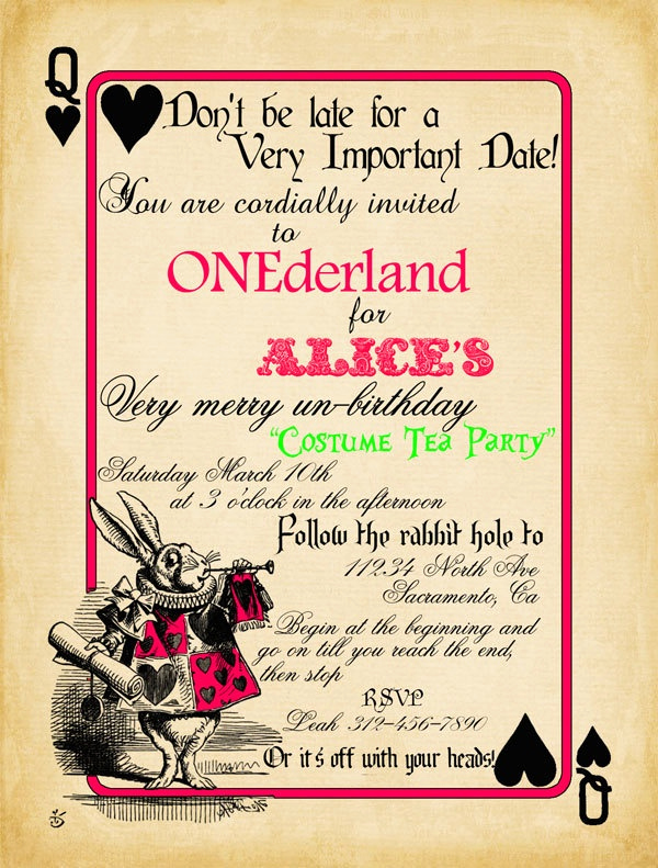 Playing Card Invitation Template Best Of 1283 Best Alice In Wonderland Tea Party Images On