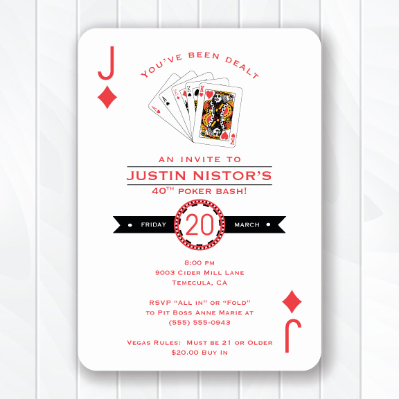 Playing Card Invitation Template Elegant Casino Invitation Poker Birthday Party 30th Birthday 40th