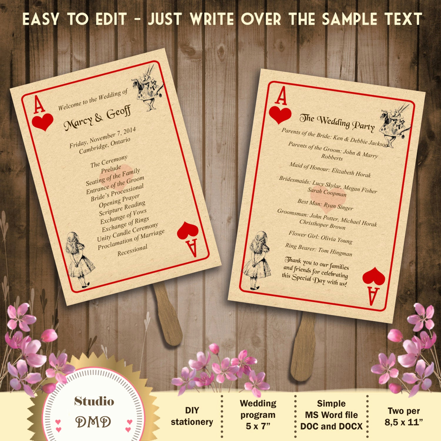 Playing Card Invitation Template Free Elegant Printable Wedding Program Template – Alice In Wonderland